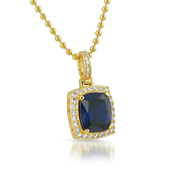 18K Gold Finish Synthetic Sapphire Pendant