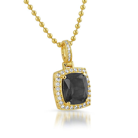 18K Gold Finish Black Lab Diamond Pendant