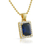 Gold Synthetic Sapphire Royal CZ Pendant