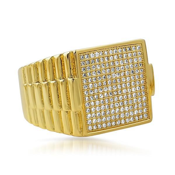 Gold CZ Micropave Executive Ring