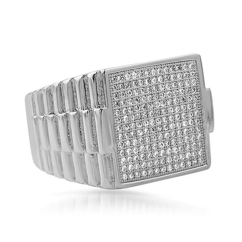 Silver CZ Micropave Presidential Ring