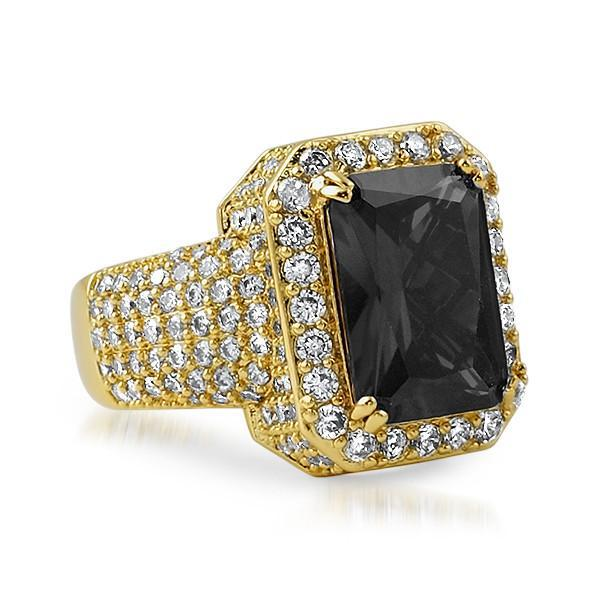 Gold Black CZ Stone Royal Ring