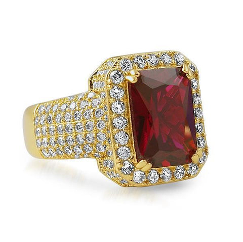 Gold Red Synthetic Ruby Royal Ring