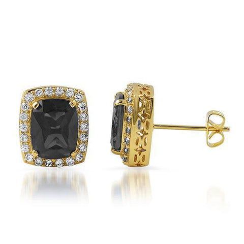 Gold Black Simulated Diamond Royal Earrings