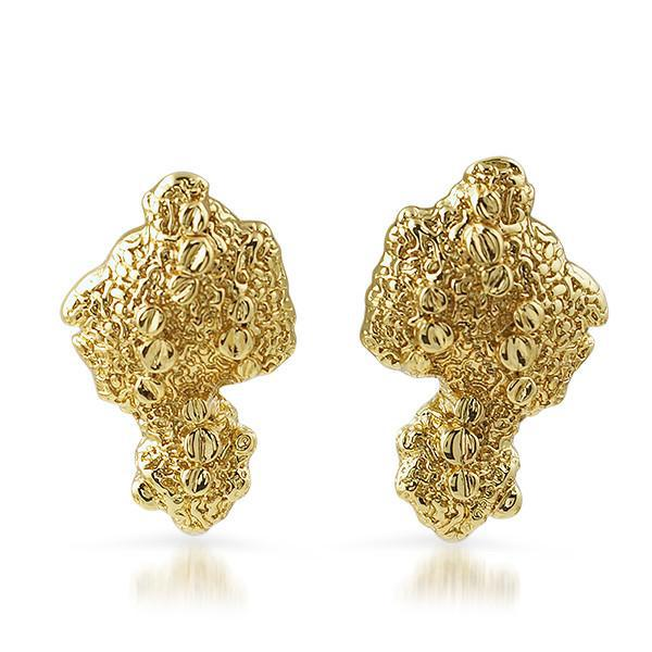 Gold Plated Vintage Large Nugget Earrings