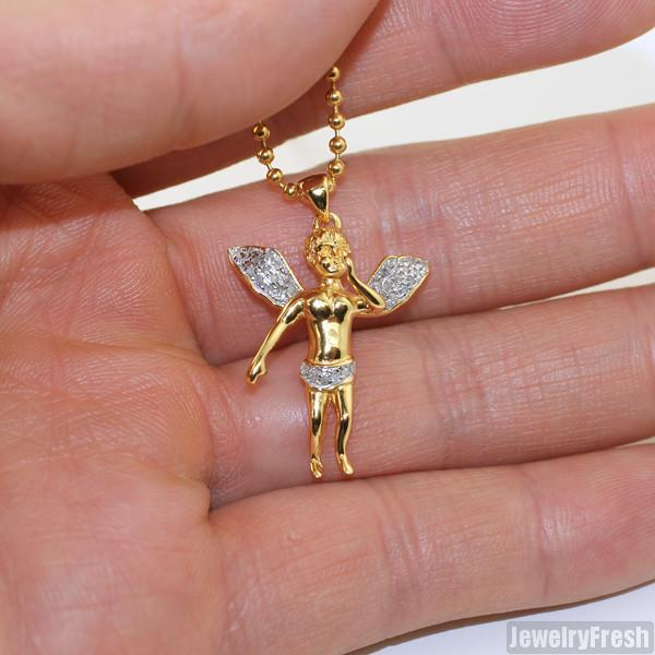 Gold Genuine Diamond Micro Angel Pendant