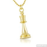 Gold Polished King Chess Piece Pendant