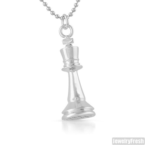 Silver Polished King Chess Piece Pendant
