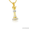 Gold CZ Queen Chess Piece Pendant
