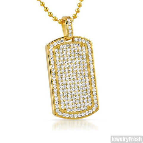 Gold Plated 925 Silver Small Iced Dogtag
