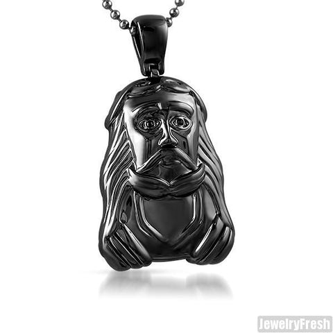 Black Savior Polished Small Jesus Pendant