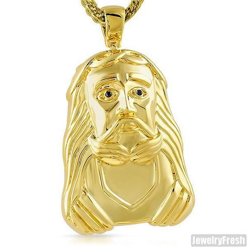 Gold Large Savior Polished Jesus Pendant