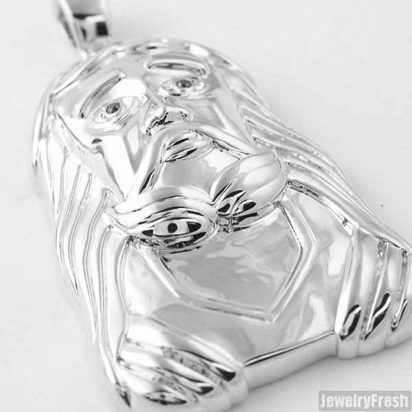 Silver Large Savior Polished Jesus Pendant