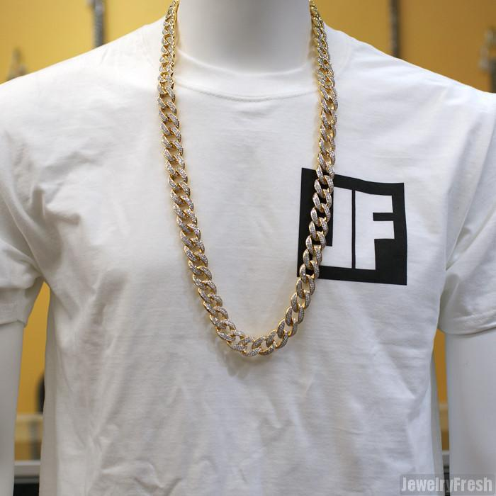 18mm Jumbo Iced Out Gold Miami Cuban Chain