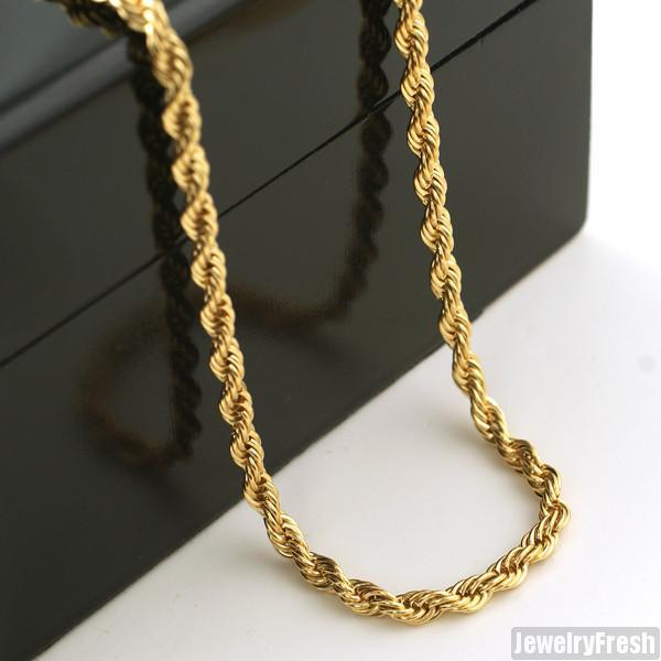 4mm 14K Gold IP French Rope Chain
