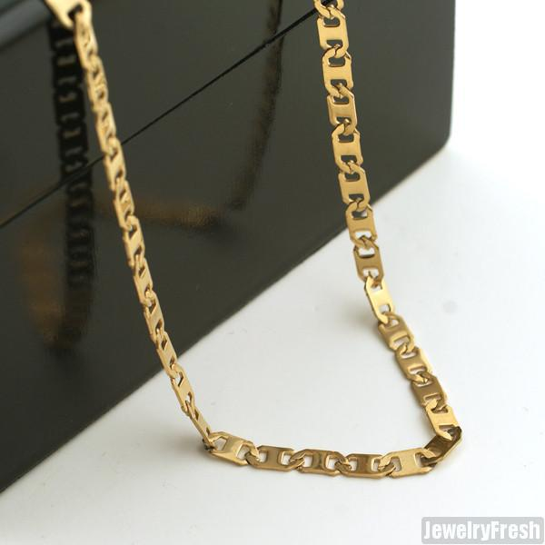 4mm 14K Gold IP Mariner Chain Necklace