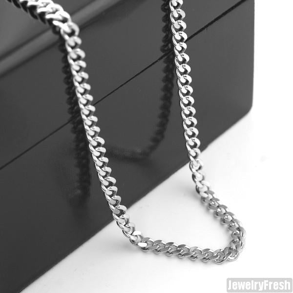 4mm Stainless Steel Cuban Chain Necklace