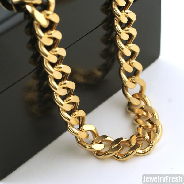 12mm 14K Gold IP Large Cuban Chain