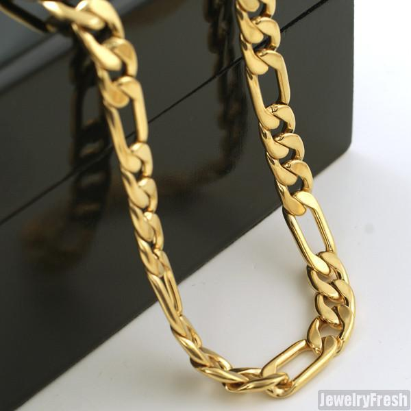 8mm 14K Gold IP Italian Figaro Chain