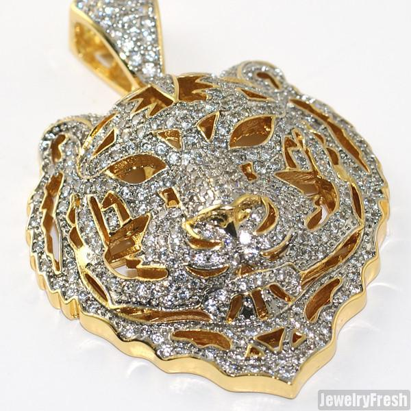 Gold Tone 3D Iced Out Tiger Face Pendant