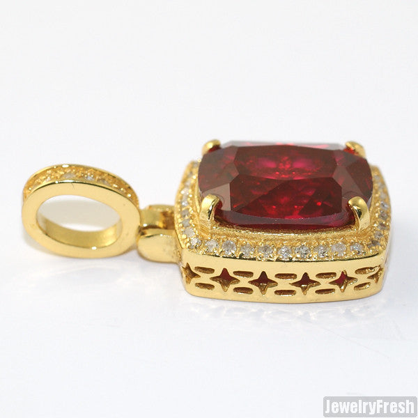 0.21 Carat Genuine Diamond Lab Ruby Pendant