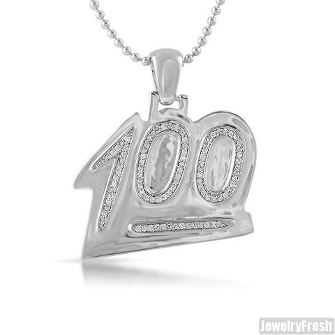 Silver Finish 100 Emoji CZ Pendant Necklace