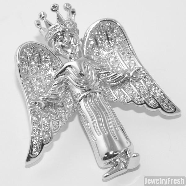 Silver 3D Iced Angel Pendant Set
