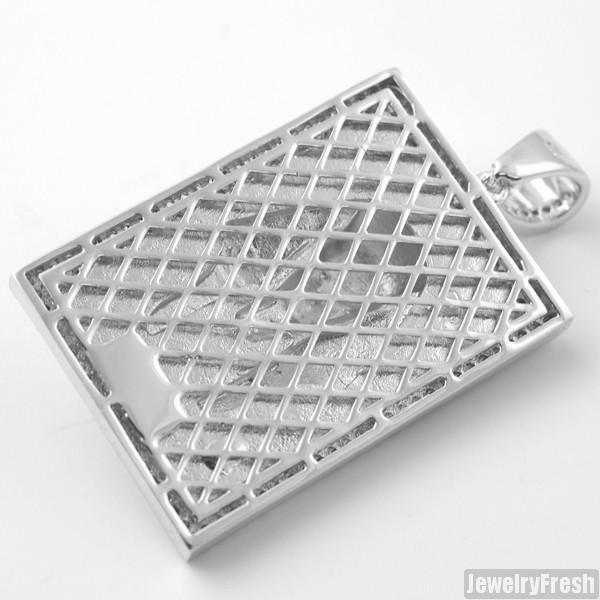 Silver Mary CZ Block Medallion