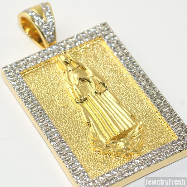 Gold Mary CZ Block Medallion