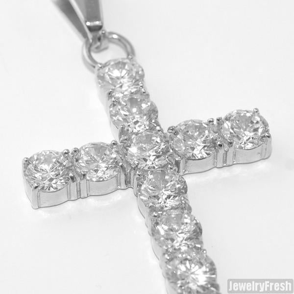 Stainless Steel 9.35 Carat Flawless CZ Cross