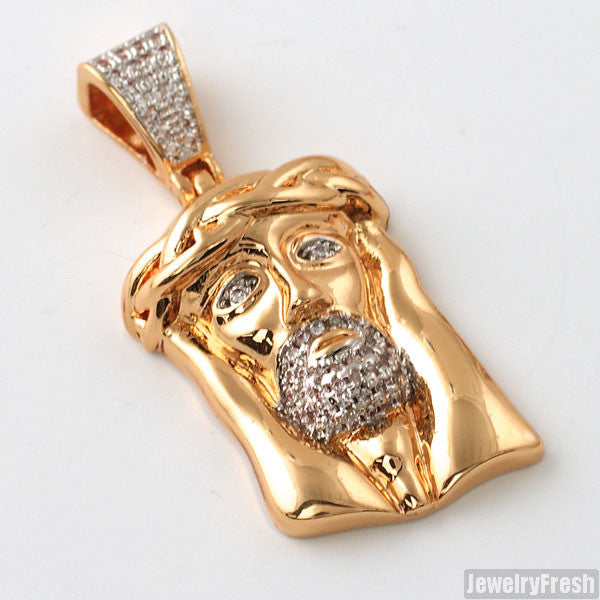 Rose Gold Solid Back Micro Jesus Piece