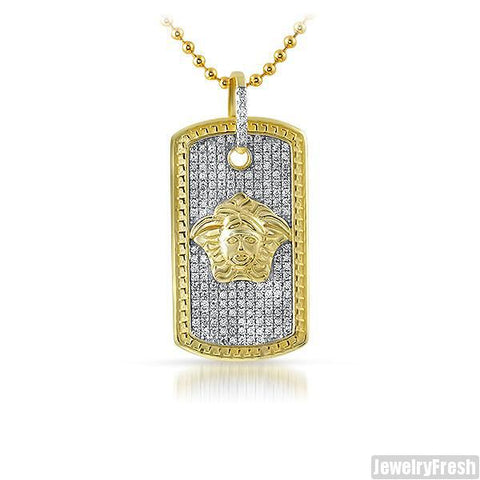 Two Tone Gold Small Medusa Dogtag Necklace