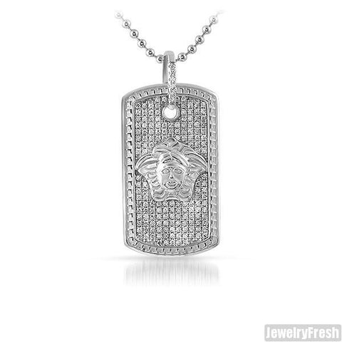 Sterling Silver Small Medusa Dogtag Necklace