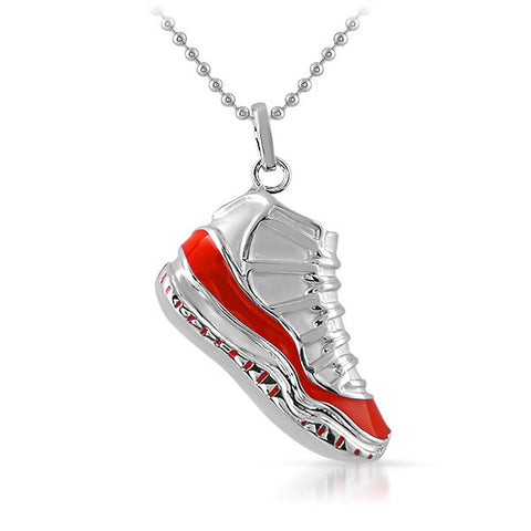 Silver and Red J11 3D Sneaker Pendant