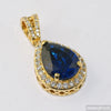 Teardrop Blue Gold Royal Gemstone Pendant