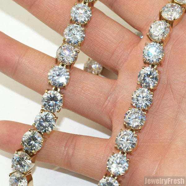 14k Gold IP 10MM Jumbo Flawless CZ Iced Out Chain