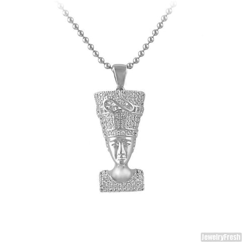 Silver Iced Out Mini Queen Nefertiti Pendant