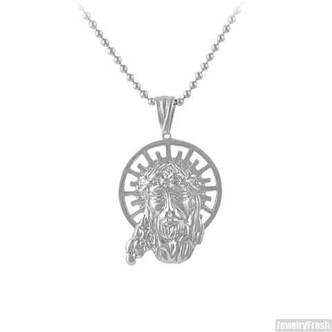 Silver Fancy Hand Carved Jesus Piece Chain