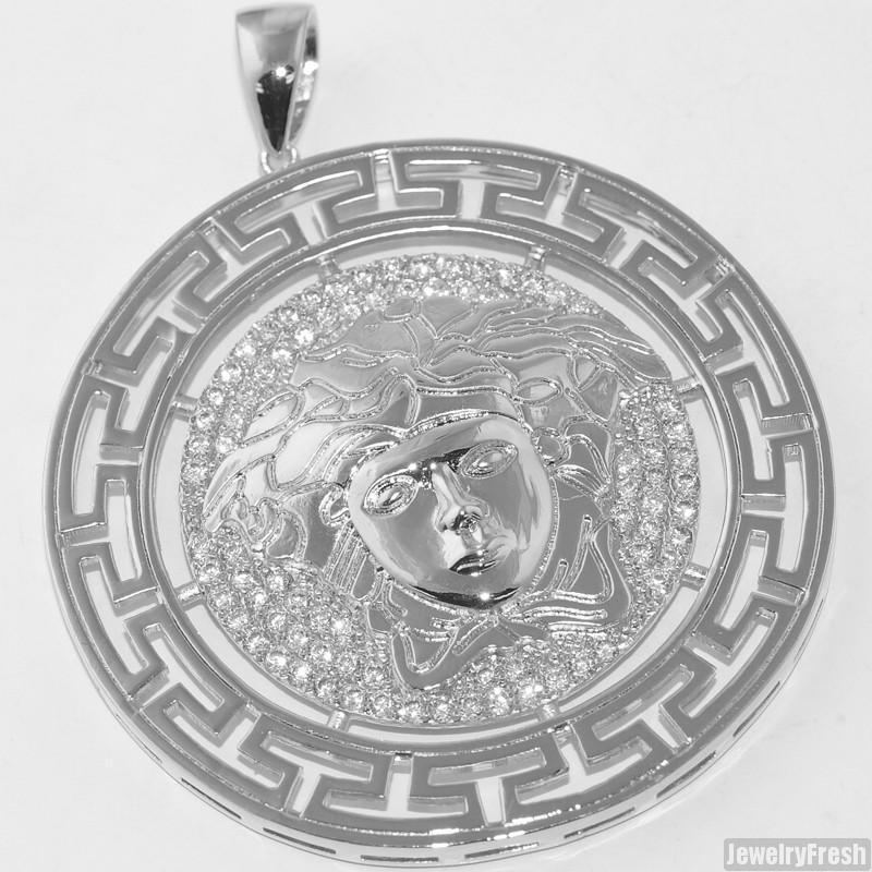 Silver Iced Out CZ Medusa Large Pendant