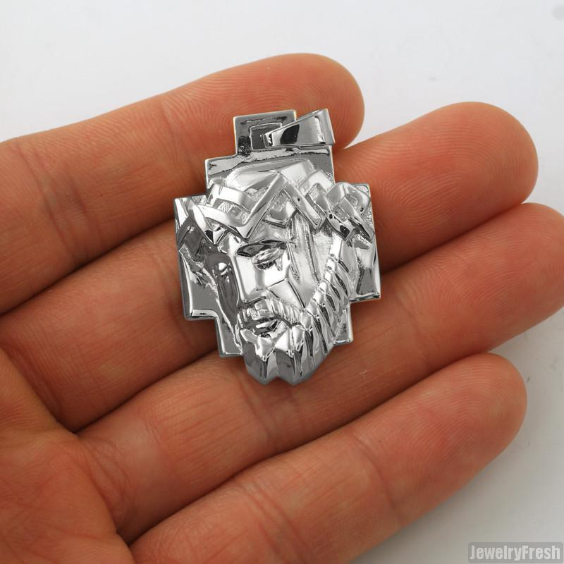 Silver Abstract Small Jesus Pendant Chain