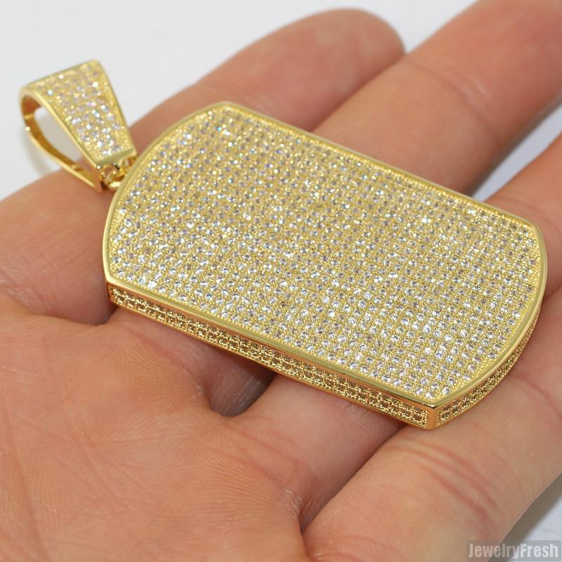 Gold Fully Iced Micropave Dogtag Pendant