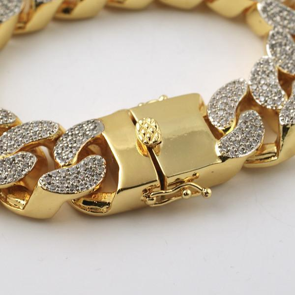 22mm Gold Crushed Out Miami Cuban Bracelet