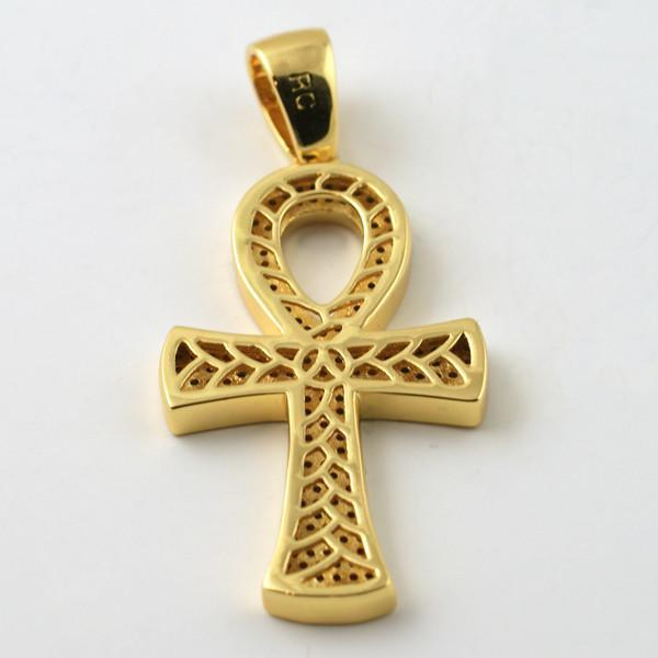 Gold CZ Egyptian Ankh Cross Chain