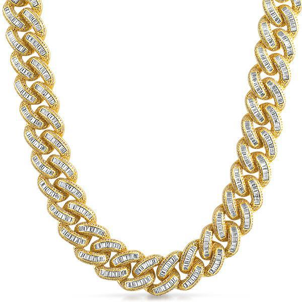 Exotic Baguette Lab Diamond Gold Cuban Chain