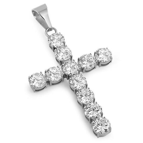 42.5 Carat Lab Diamond Silver Luxury Cross