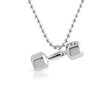 Silver Polished Small Dumbbell Weight Pendant