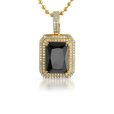 Black Stone Gold 925 Silver 2 Row Iced Pendant