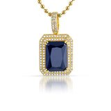 Blue Gem Gold 925 Silver 2 Row Iced Pendant