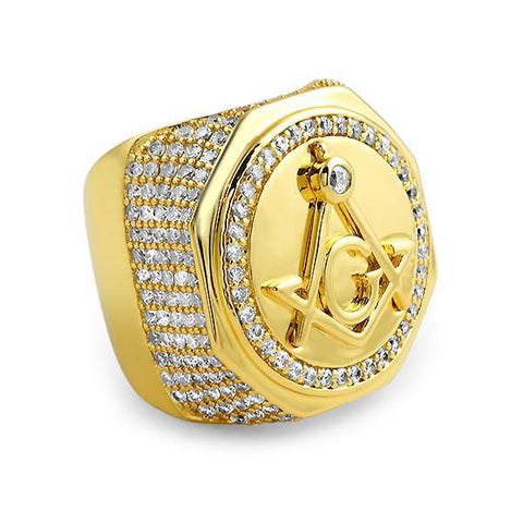 Gold Finish Oversized Freemason Ring