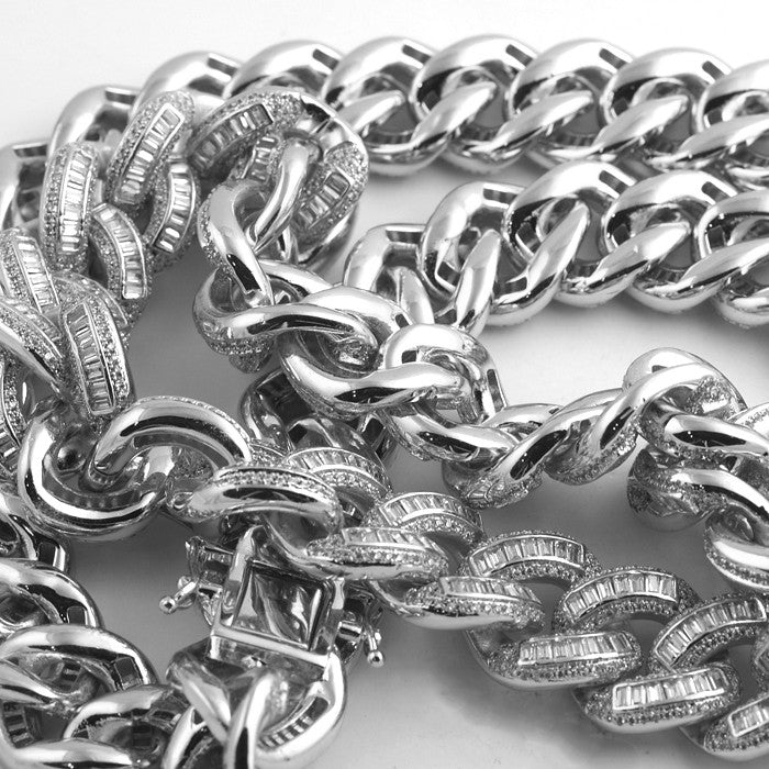 Exotic Baguette Lab Diamond Silver Cuban Chain
